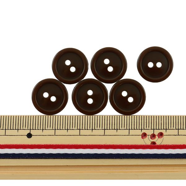 ボタン 『二つ穴ボタン 15mm 6個入り 茶 PYTD20-15』