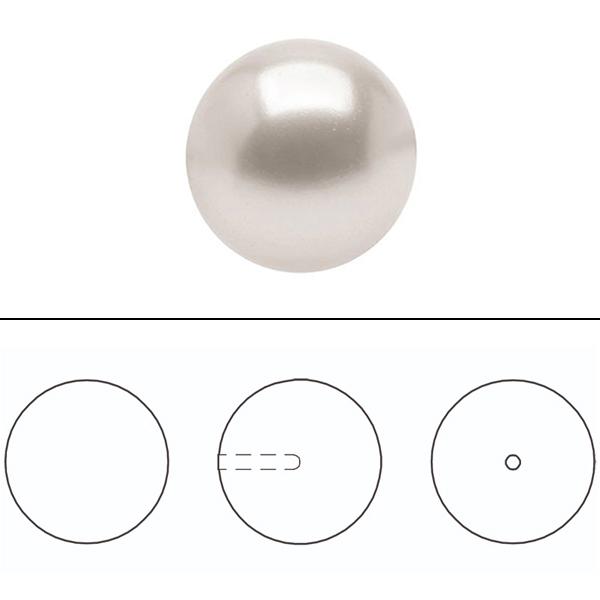 スワロフスキー 『#5818 Round Pearl Bead (Half Drilled) クリームローズ 8mm 2粒』 SWAROVSKI スワロフスキー社
