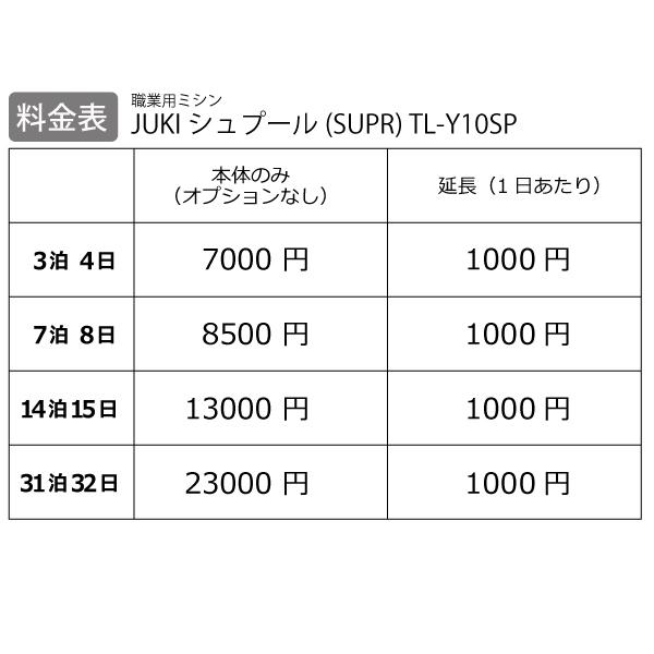 【レンタル】【送料無料】 職業用ミシン 『JUKI シュプール(SUPR) TL-Y10SP』