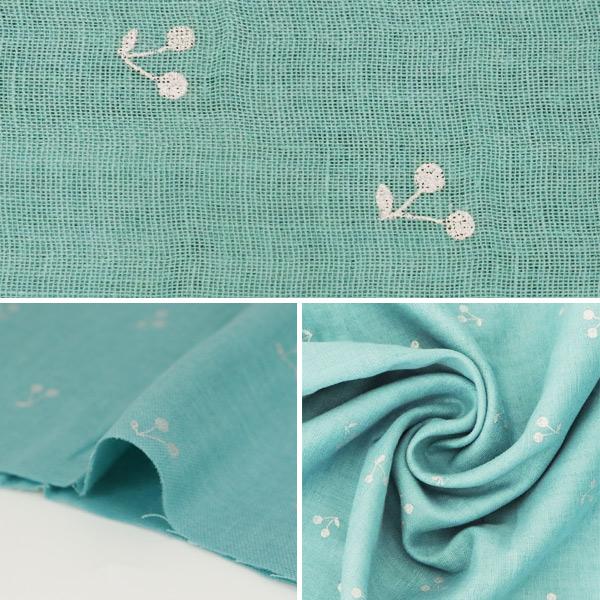 【数量5から】生地 『Wガーゼ (ダブルガーゼ) ラメチェリー 青緑 KTS6525-G』 COTTON KOBAYASHI コットンこばやし 小林繊維