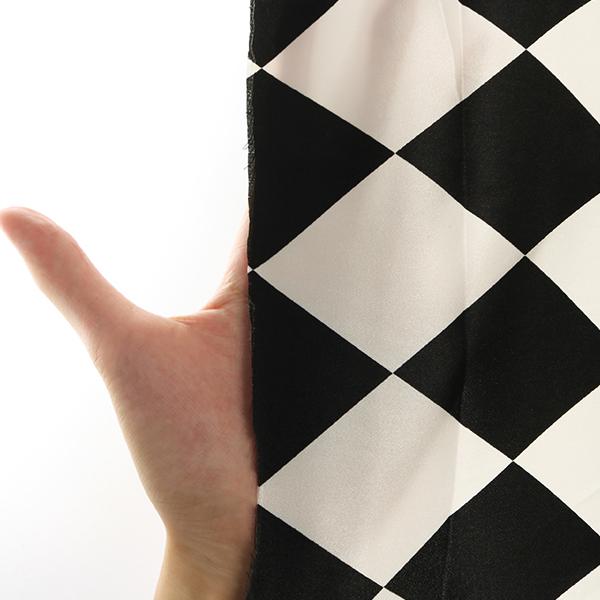 【数量5から】生地 『ダイヤモンドサテン 白×黒 170530-1』