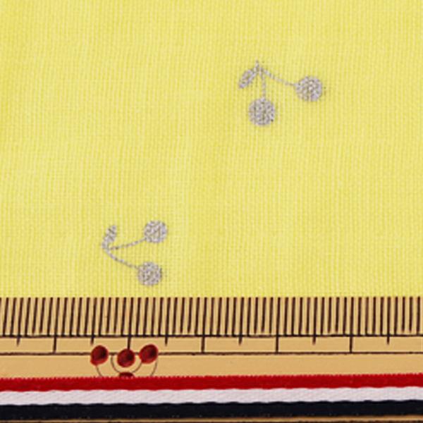 【数量5から】生地 『Wガーゼ (ダブルガーゼ) ラメチェリー イエロー KTS6525-C』 COTTON KOBAYASHI コットンこばやし 小林繊維