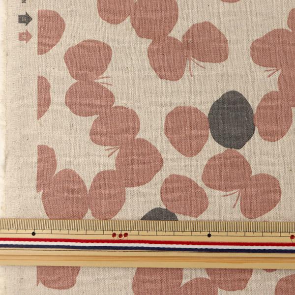【数量5から】 生地 『LE・DEPART(ル・デパール) 綿麻キャンバス キナリ×ピンク 148-1226-M2』