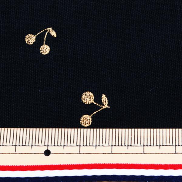 【数量5から】生地 『Wガーゼ (ダブルガーゼ) ラメチェリー ブラック KTS6525-K』 COTTON KOBAYASHI コットンこばやし 小林繊維