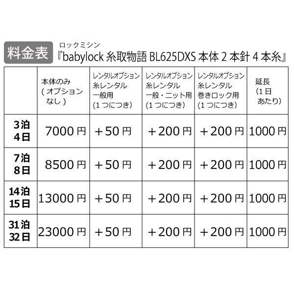 【レンタル】【送料無料】 ロックミシン 『babylock 糸取物語 BL625DXS』