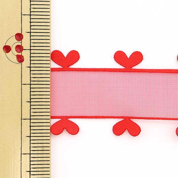 【数量5から】 リボン 『ハートオーガンジー 1613 幅約2.5cm 16番色』 AOYAMARIBBON 青山リボン