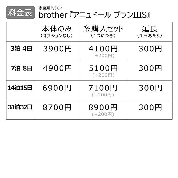 【レンタル】【送料無料】 家庭用ミシン 『brother アニュドール ブランIIIS』