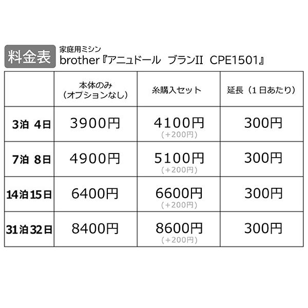 【レンタル】【送料無料】 家庭用ミシン 『brother アニュドール ブランII CPE1501』