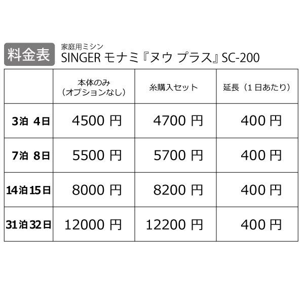 【レンタル】【送料無料】 家庭用ミシン 『SINGER モナミ ヌウプラス』