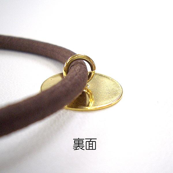アクセサリー素材 『15mm皿付ヘアゴム (茶ゴム) 金色』