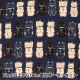 【数量5から】 生地 『ドビー織り まねきねこ 濃紺 AP22308-2C』