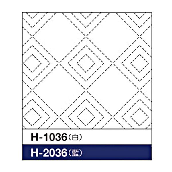 刺しゅう布 『刺し子 花ふきん 布パック 立三枡 (たてみます) (白) H-1036』 Olympus オリムパス