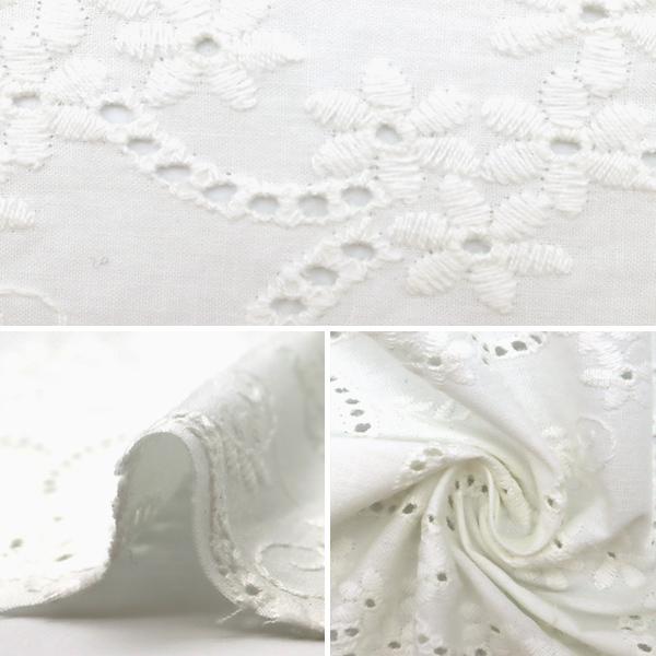 【数量5から】 生地 『綿 オールオーバーレース ホワイト BEI-30002』