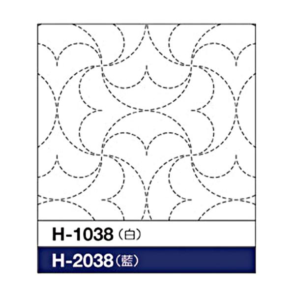 刺しゅう布 『刺し子 花ふきん 布パック 半丸つなぎ (白) H-1038』 Olympus オリムパス