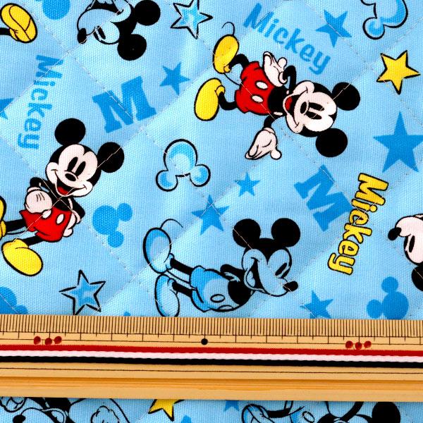 【数量5から】生地 『ミッキーマウス オックスキルト 水色 GRQ1080-1A』 KOKKA コッカ