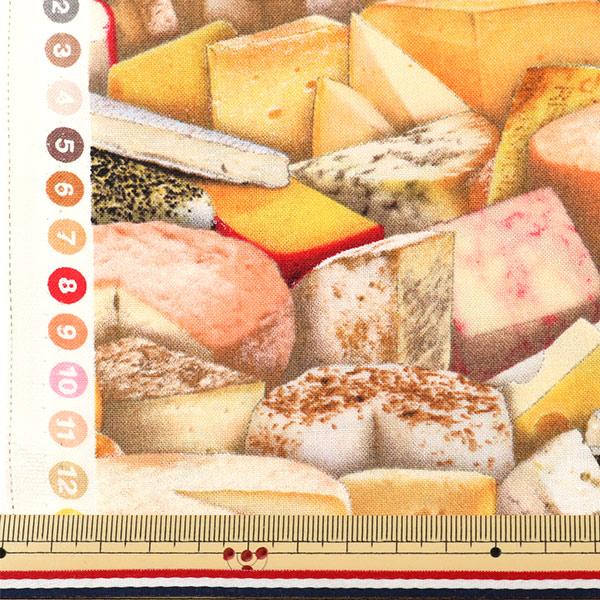 【食べ物生地最大20%オフ】 【数量5から】 生地 『インクジェットプリント チーズ 388-multi』 USAコットン