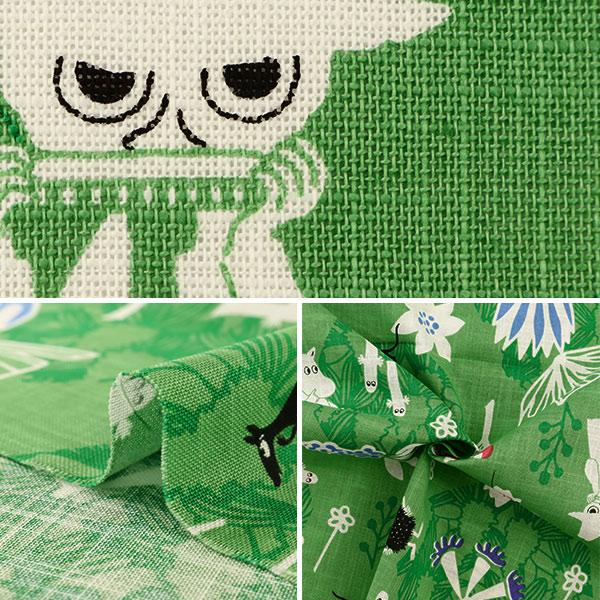 【数量5から】生地 『モーリークロス カワトウリカ×ムーミン 花のポルカ グリーン G-1202-1A』 KOKKA コッカ