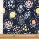 生地 『kippis(キッピス) オックス カットクロス 約50cm 夏の花 Kes-kukka ネイビー KPOK-49C』
