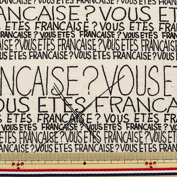 【数量5から】生地 『綿麻キャンバス フランス語柄 ナチュラル』 YUWA 有輪商店