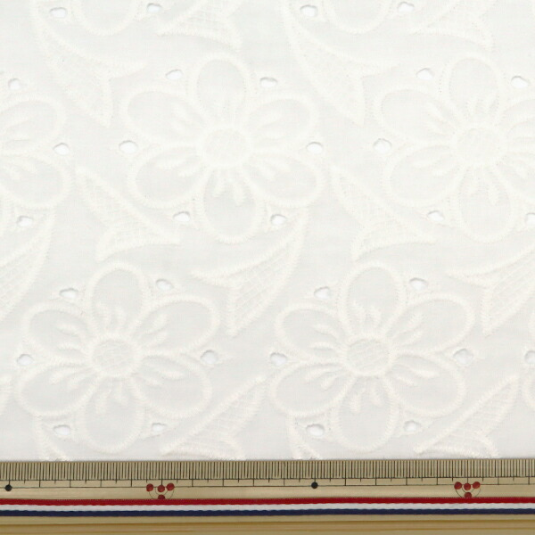 【数量5から】 生地 『綿 オールオーバーレース ホワイト BEI-30009』