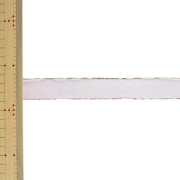 【数量5から】 リボン 『ゴールドエッジオーガンジー 幅約2.5cm 60番色 33217』 TOKYO RIBBON 東京リボン