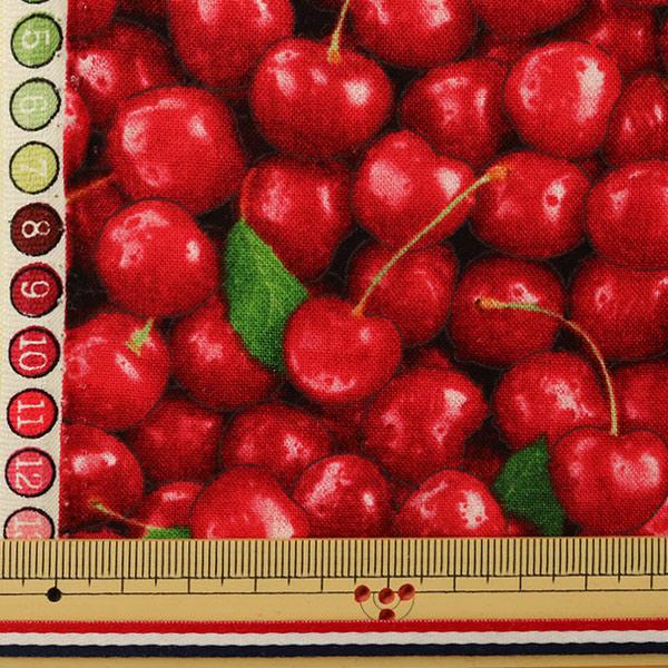 【食べ物生地最大20%オフ】 【数量5から】 生地 『インクジェットプリント チェリー 577-red』 USAコットン