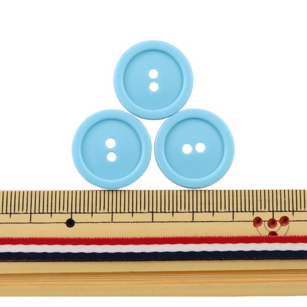 ボタン 『二つ穴ボタン 20mm 3個入り 水色 PYTD20-20』