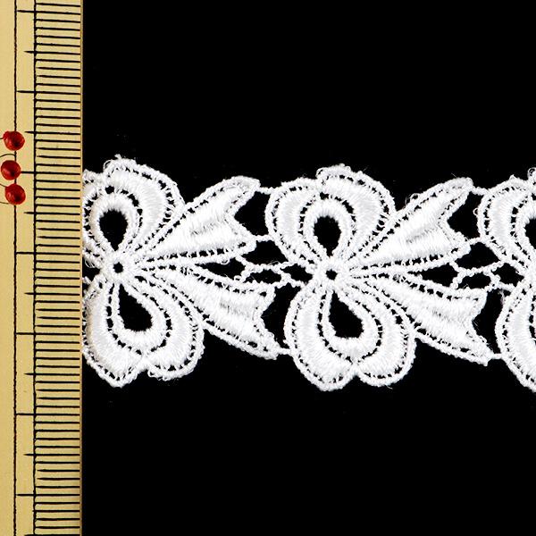 【数量5から】レースリボンテープ 『ケミカルレース 白 幅約28mm 25317』