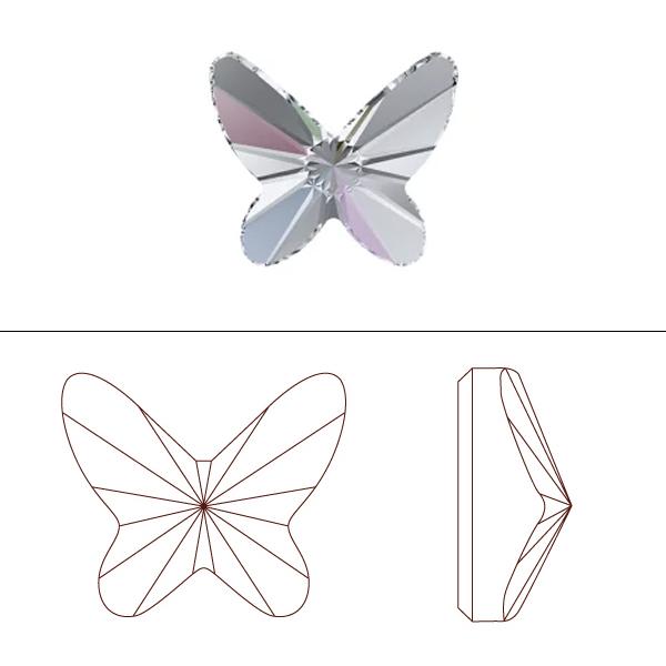 スワロフスキー 『#2854 Butterfly Flat Back no-hotfix クリスタルアンティークピンク 12mm 1粒』 SWAROVSKI スワロフスキー社
