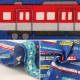【数量5から】 生地 『オックス Tip-top collection(ティップトップコレクション) いろんな電車 ブルー』