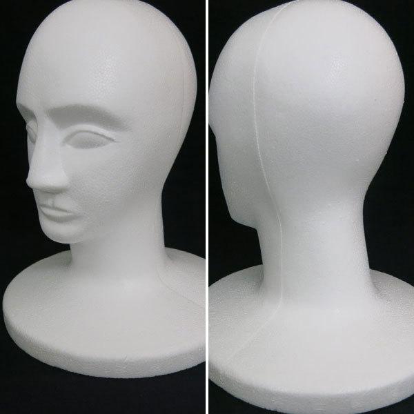 『マネキン男顔』 発泡スチロール マネキン 顔 フェイス ヘッド ディスプレイ 工作 コスプレ資材