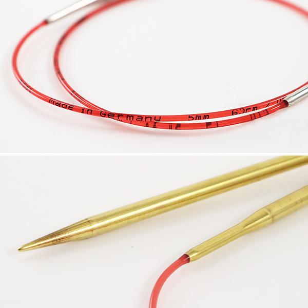 【編み物道具最大20%オフ】編み針 『addiレース輪針ゴールド 60cm 針サイズ5.5mm』 addi アディ