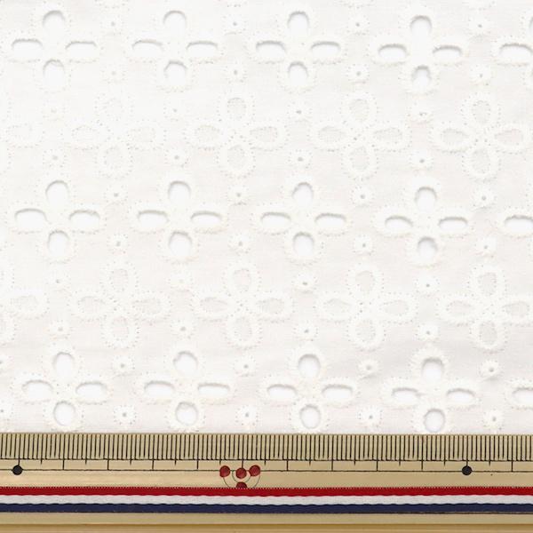 【数量5から】 生地 『綿 オールオーバーレース ホワイト BEI-30015』