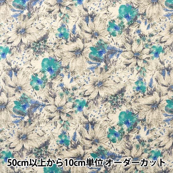 【数量5から】生地 『綿麻シーチング 水彩花柄 ナチュラル』 YUWA 有輪商店