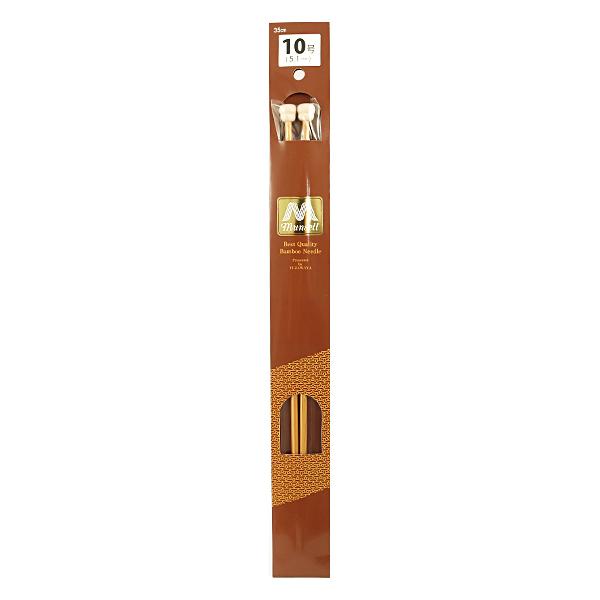 【編み物道具最大20%オフ】 編み針 『硬質竹編針 玉付き 2本針 35cm 10号』 mansell マンセル【ユザワヤ限定商品】