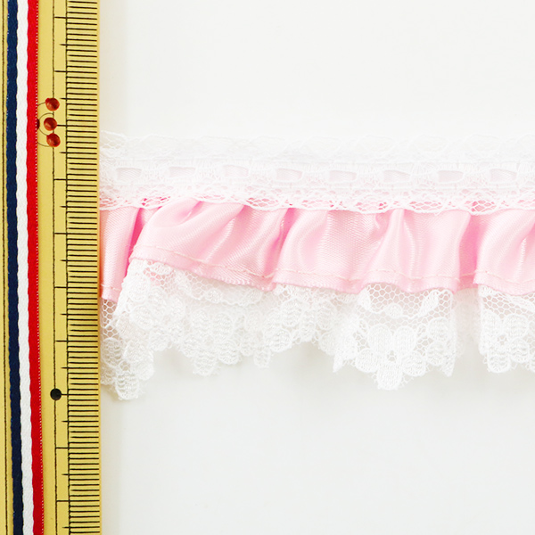 【数量5から】レースリボンテープ 『チープレース ピンク フリル 029555 K117』