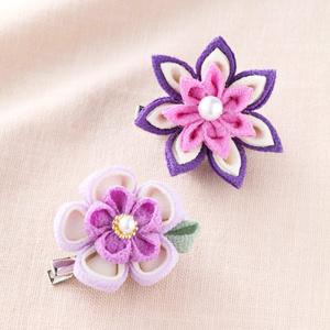 手芸キット 『京ちりめんつまみ細工 お花のブローチ 紫 LH-379』 Panami パナミ タカギ繊維