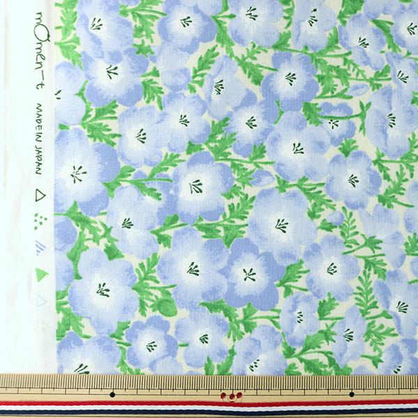 【数量5から】生地 『mOmen-t モーメント 綿麻シーチング ネモフィラ 水色/ライトアイアンブルー 148-1857-M-2』