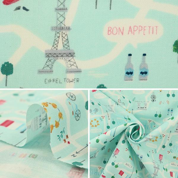 【数量5から】 生地 『インクジェットプリント パリ 917-Capri』 USAコットン