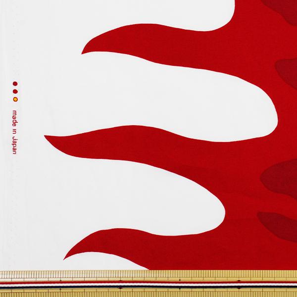 【数量5から】 生地 『鬼火柄 ブロード 赤×黄色』 99078-7A