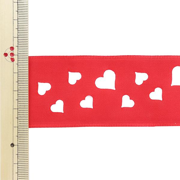 【数量5から】 リボン 『フランス製ハート柄リボン ワイヤー入り 幅約4cm 12番色 11480』