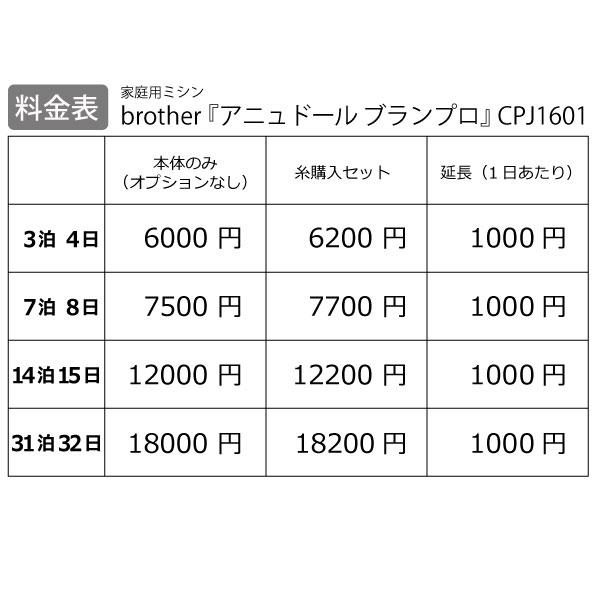 【レンタル】【送料無料】 家庭用ミシン 『brother アニュドール ブランプロ CPJ1601』