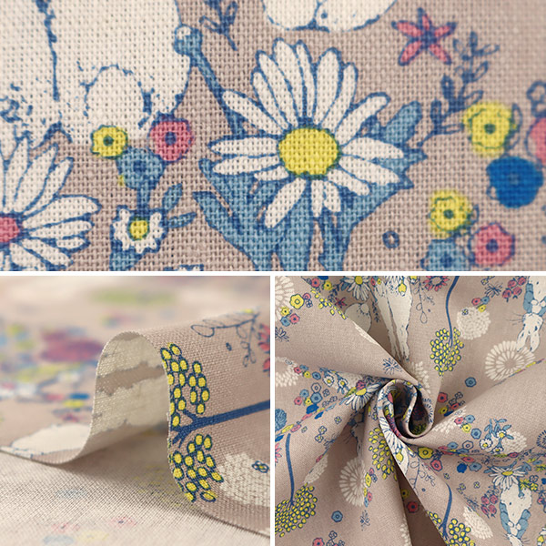 【数量5から】 生地 『綿麻キャンバス ピーターラビット Flower Meadow(フラワーメドウ) グレー PRC-02C』