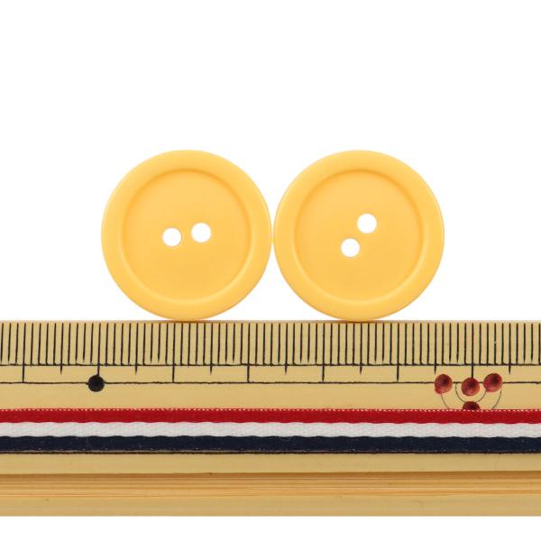 ボタン 『二つ穴ボタン 23mm 2個入り 黄色 PYTD20-23』