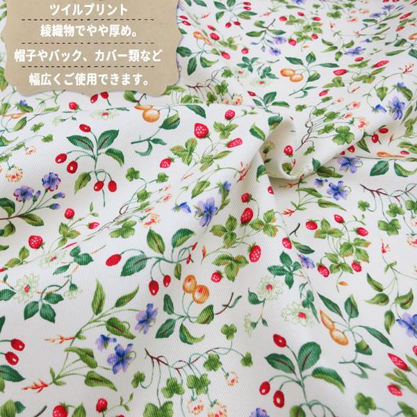 【数量5から】生地 『ツイルプリント フルーツ&花柄 KSP4894-A』 COTTON KOBAYASHI コットンこばやし 小林繊維