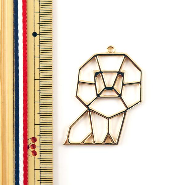 レジンパーツ 『レジン枠 折り紙アニマル ライオン ゴールド 10-3210』