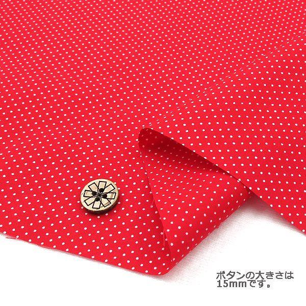 【数量5から】生地 『水玉ブロードプリント (極小) 赤×白 88190-1-10』