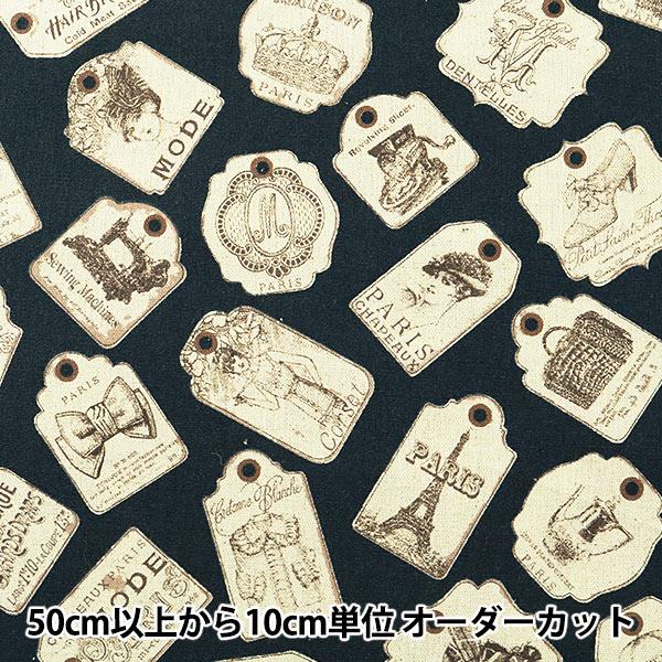 【数量5から】生地 『綿麻キャンバス ラベル柄 YUZ-754-3』 YUWA 有輪商店【ユザワヤ限定商品】