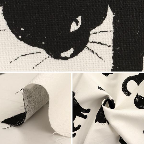 【数量5から】 生地 『綿麻キャンバス 小生意気な黒猫 シロ AP51308-3A』 コスモテキスタイル