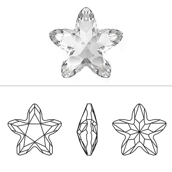スワロフスキー 『#4754 Starbloom クリスタルシルバーシェード 13×13.5mm 1粒』 SWAROVSKI スワロフスキー社